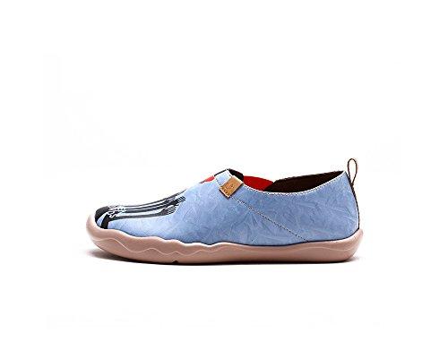 UIN Sept pounds Chaussures bateaux de cuir comfortable bleu pour femme