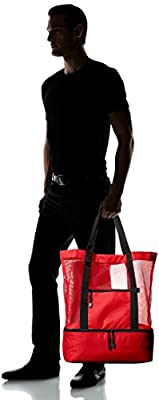 TravelWell Fashionable Beach Picnic 12-Cans Outdoor Mesh Cooler Tote Bag, Red