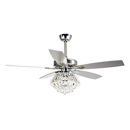 Ceiling Fan with Lights 52 Inch Remote Control Ceiling Fan 5 Reversible Blades Crystal Chandelier Fans, 3 Bulbs Not Included, Chrome