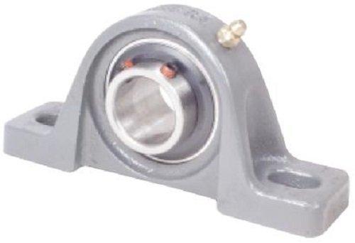 "Peer Bearing UCP206-19 Pillow Block, Standard Shaft Height, Wide Inner Ring, Relubricable, Anti-Rotation Pin, Set Screw Locking Collar, Single Lip Seal, Cast Iron Housing, 1-3/16"" Bore, 1-11/16"" Shaft Height, 4-3/4"" Bolt Center"