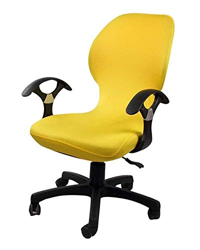 Deisy Dee Computer Office Chair Covers Pure Color Universal Chair Cover Stretch Rotating Chair Slipcovers Cover ONLY Chair Covers C098 (Yellow)