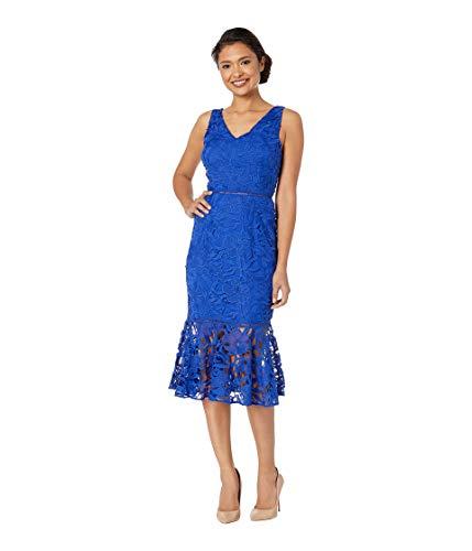 Alexia Admor Women's V-Neck Lace Midi Dress Navy 6