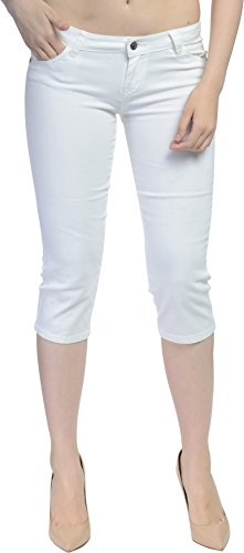 Hey Collection Juniors Brushed Stretch Twill Skinny Capri Jeans,Medium,White