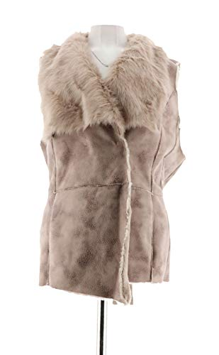 Faux Basso Dennis Suede (Dennis Basso Stylish Faux Fur Suede Draped Collar Vest Chocolate XL New A258160)