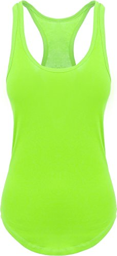 Womens Racer Tank Summer (Hat and Beyond HC Womens Racerback Tank Top Soft Scallop Bottom Casual Sleeveless Jersey (2X-Large, Neon Green))