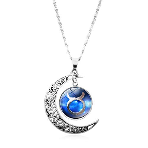 YUANOMSL Women Necklace,Time Gemstone,Beautiful Blue Taurus Art Europe and America Necklace Crystal Pendant Time Gemstone Half Moon Necklace Handmade Jewelry Clavicle Chain