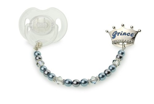 Luxury Keepsake Gift Swarovski Blue Simulated Pearls and Crystals Hand Crafted Enamel Crown Sterling Silver Baby Boy Prince Pacifier Clip 8 inch (CPB)