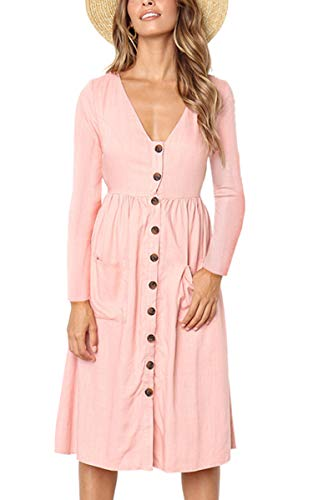 Sleeve Midi Dresses Women's V Button Angashion Dress Neck Shirt T Pink Pockets 018 Short Skater qztwx5