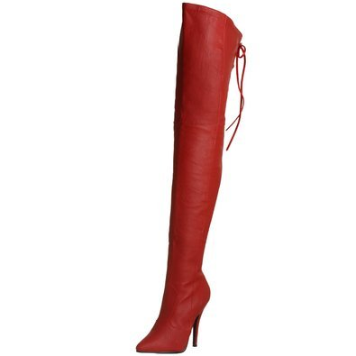 Pleaser Legend 8899 Red Leather Thigh High Boots Size UK3 - UK13 ...