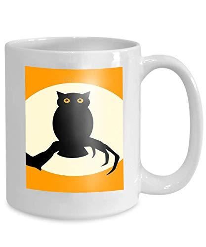 mug coffee tea cup halloween spooky owl silhouette over orange Lovely -