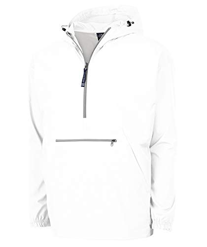 Charles River Apparel Unisex-Adult's Pack-N-Go Wind & Water-Resistant Pullover (Reg/Ext Sizes), White, Medium ()