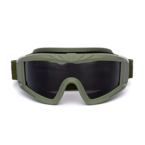 Xinxin Protective Anti-Fog Safety Goggles Eyewear with Wide-Vision Outdoor Sports Military Airsoft Tactical Goggles with 3 Interchangable Lens Impact Resistance Hunting Eyewear (Olive, 2.88)