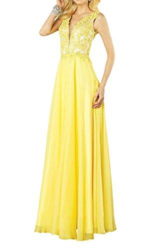 La Festlichkleider Braut Marie Damen Gelb Sexy Lang Abendkleider Abschlussballkleider Spitze Promkleider wwFx7