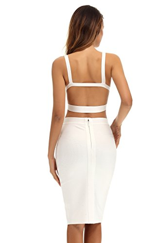 a2d49c7b14e Whoinshop Womens Bodycon Bandage Skirt Set 2 Pieces Sleeveless Celebrity  Dress White XS