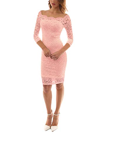 LITTLEPIG Women's Off Shoulder Elegant Lace Hollow Dress Long Sleeve Bodycon Cocktail Party Wedding Dresses Pink
