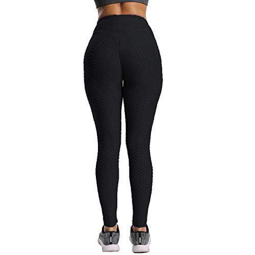 234339ae66143 FITTOO Womens High Waist Textured Workout Leggings Booty Scrunch Yoga Pants  Slimming Ruched Tights Black S