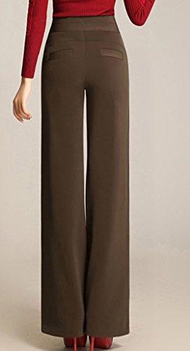 Lixmee Mujer Cintura Alta Color Sólido Loose Amplia Pierna Pantalones _03 Brown
