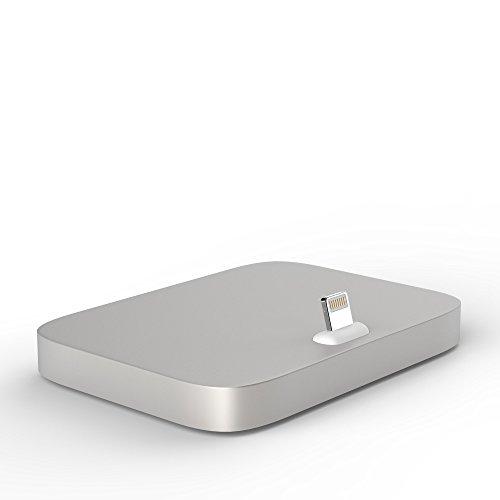 esorio® Aluminium Dockingstation für Apple iPhone 7 6 6S SE iPod in Silber