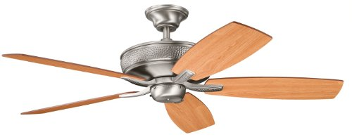 Kichler 339013AP Monarch II 52IN 5-Blade Ceiling Fan, Antique Pewter Finish with Reversible Light Cherry/Dark Cherry Blades