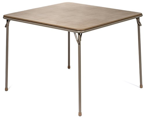 "XL Series Square Folding Card Table (38"") - Easy-to-Use Collapsible Legs for Portability and Storage - Vinyl Upholstery for Convenient Cleaning - Steel Construction, Wheelchair Accessible (Beige)"