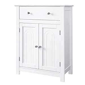 VASAGLE Free Standing Bathroom Cabinet with Drawer and Adjustable Shelf, Kitchen Cupboard, Wooden Entryway Storage Cabinet White, 23.6 x 11.8 x 31.5 Inches UBBC61WT