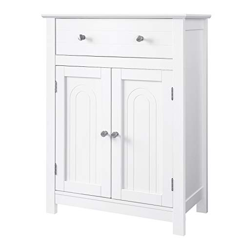 ng Bathroom Cabinet with Drawer and Adjustable Shelf, Kitchen Cupboard, Wooden Entryway Storage Cabinet White, 23.6