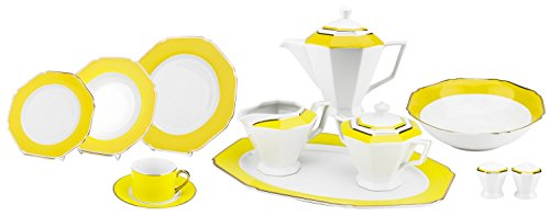 - Majestic Porcelain G1636B 49-Piece Dinner Set, Octagon-Shaped Gold-Plated Yellow Accent Place Setting, White Porcelain Dinnerware Set, Service for 8
