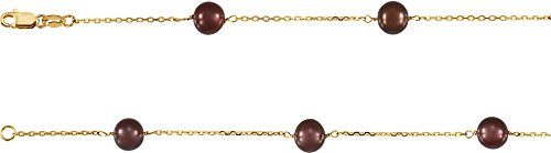 """Jewels By Lux 14K Yellow Gold Freshwater Cultured Dyed Chocolate Pearl 7.5"""" Bracelet"""