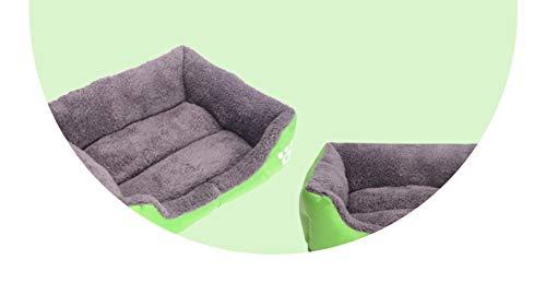 Summerdress Pet Beds Soft PP Cotton Padded Puppy Cat Sofa Bed Cushion Rectangle Mat Waterproof Pets House,Green,XL 80x65x17cm