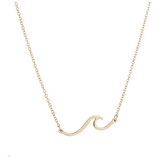 Simple Ocean Wave Pendant Necklace Surfing Sea Surfing Hawaii Circle for Women Hawaiian Beach Lover Jewelry (Gold Wave)