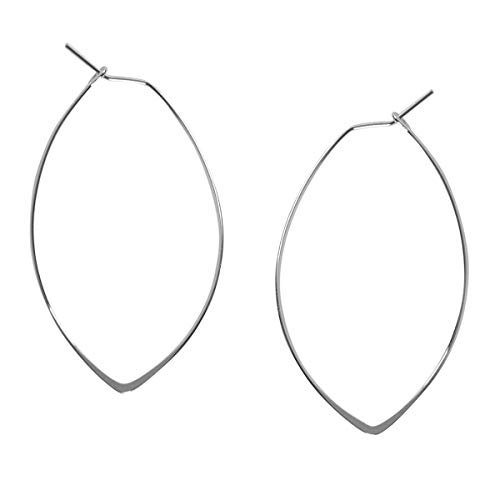 Marquise Threader Big Hoop Earrings - Lightweight Oval Leaf Statement Drop Dangles, 925 White - 1.75 inch, Sterling Silver-Electroplated, Hypoallergenic, by Humble Chic NY ()