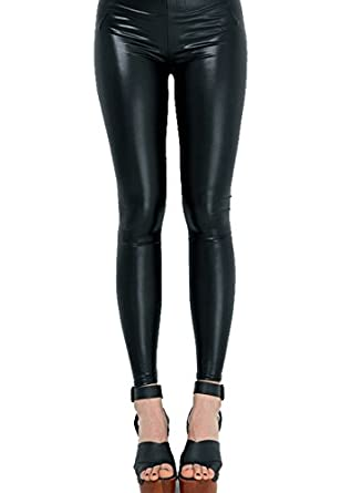 LeggingsQueen Black Faux Leather Leggings - X-Large at Amazon ...