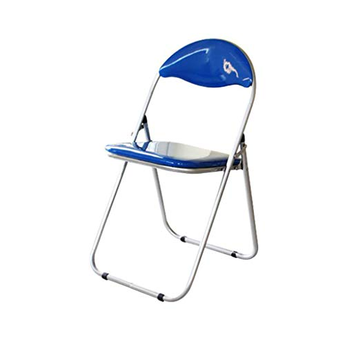 Folding Chair Folding Chair Glossy Blue Faux Leather Dining Chair Office Computer Backrest Chair PENGJIE