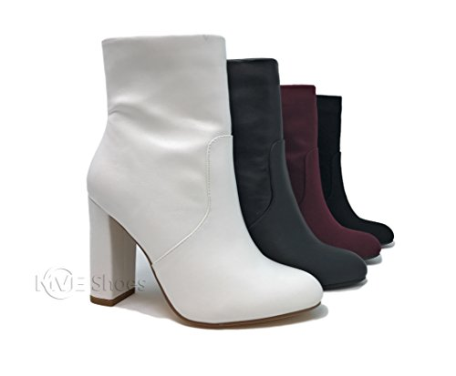 Heel White Boots (Delicious Women's Side Zip Chunky Heel Ankle Boot , White , 10 M US (White Pu, 7.5 B(M) US))