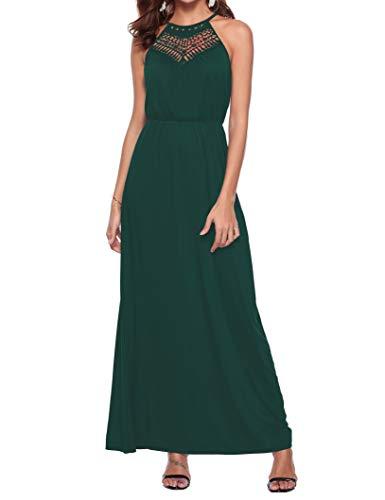 Sweetnight Maxi Dresses for Women, Summer Halter Neck Sleeveless Floral Maxi Long Dress (Dark Green, M)