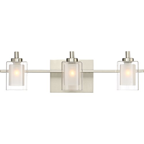 Quoizel KLT8603BNLED Kolt Modern Vanity Bath Lighting, 3-Light, LED 13.5 Watts, Brushed -