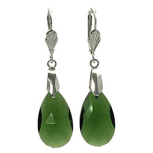 (Sabai NYC Vintage Modern Style Faceted Teardrop Earrings on Leverback Ear Wires (Moss Green))