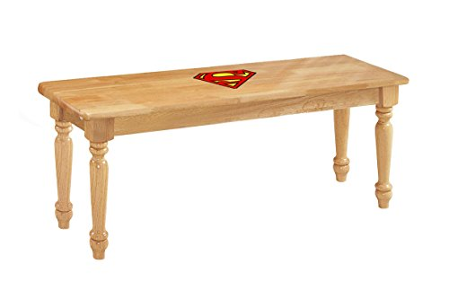 The Furniture Cove Natural Finish Farmhouse Style Traditional Wood Dining Bench Featuring a Superman Vinyl Decal