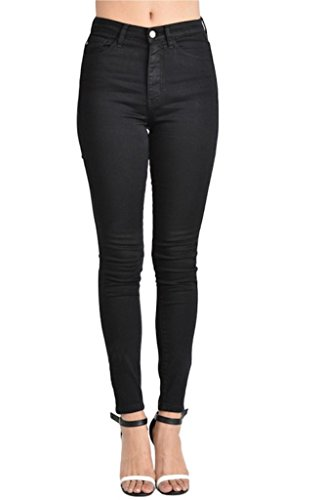 Kan Can Women's High Rise Skinny Jeans (0, Black)