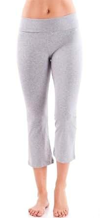 Ladies Grey Capri Yoga Pants 3/4 Length