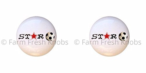 SET OF 2 KNOBS - Soccer Star Word Art - Sports and Recreation - DECORATIVE Glossy CERAMIC Cupboard Cabinet PULLS Dresser Drawer KNOBS
