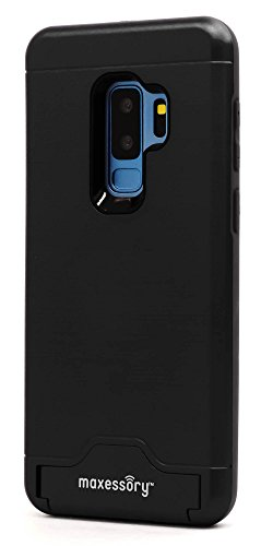 Protector Case Rubberized Black Shield (Maxessory Maestro Credit Card Holder Shock-Proof Kickstand Dual-Layer Shield Hybrid Matte Slim Premium Professional Shell Cover Black Case Compatible with Galaxy S9 Plus)