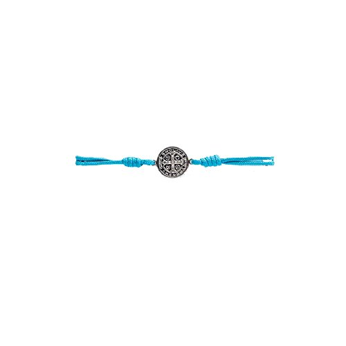 My Saint My Hero Serenity Blessing Bracelet - Silver Medal (Turquoise Cord)