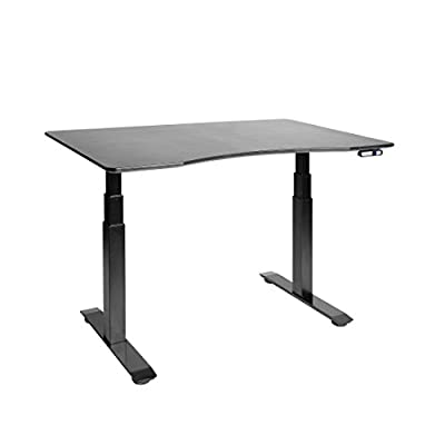 "Seville Classics AIRLIFT S3 Electric Height-Adjustable Standing Desk with Black Ergo Table Top with Beveled Bottom Edges, 54"" x 30"", Black"
