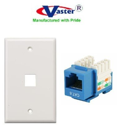 amazon com: superecable - 06164 - cat 6 punch down 110 type keystone jack,  1 pcs -blue, with 1 hole wall plate white: computers & accessories