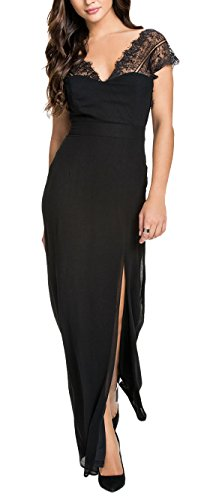 made2envy Lace V Neck Open Back Maxi Evening Dress (S, Black) C6657S