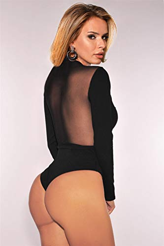 comeondear Femmes Body Sexy Manche Longue Noir Grande Taille Justaucorps Teddy Dentelle Col V Clubwear