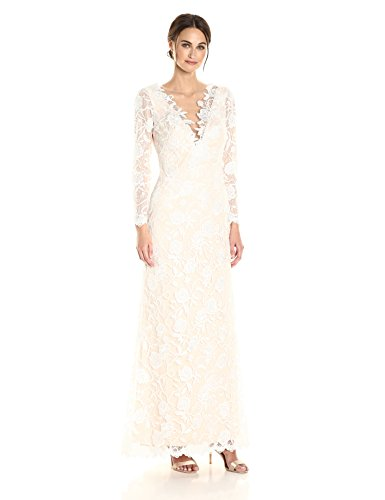 - Tadashi Shoji Women's Long Sleeve Lace Bridal Gown, Ivory/Petal, 8