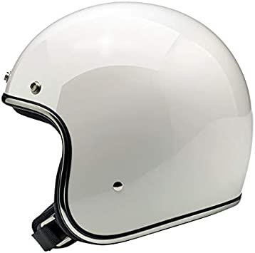Jethelm Aperto Bonanza Biltwell Gloss White White Gepr/üft DOT Helmet Biker Look Universal Style x Genere Custom Vintage Retro 70er Off-Road Street 2XL Bianco