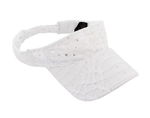 Glitter Sequin Visor for Ladies, White ,One Size